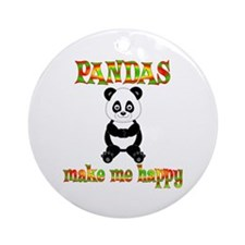 Pandas Make Me Happy Ornament (Round)