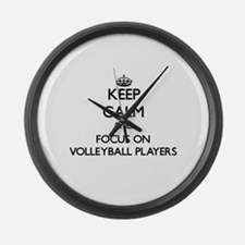 Keep Calm by focusing on Volleyba Large Wall Clock