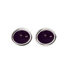 Cute Black cats Oval Cufflinks