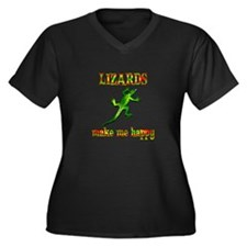 Lizards Make Women's Plus Size V-Neck Dark T-Shirt