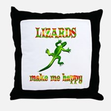 Lizards Make Me Happy Throw Pillow
