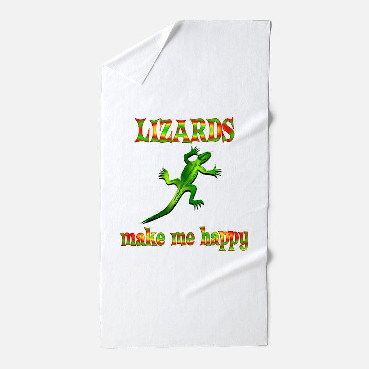 Lizards Make Me Happy Beach Towel
