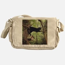 Black Cat Birdhouse Messenger Bag