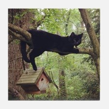 Cute Black cat Tile Coaster