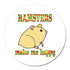 Hamsters Make Me Happy Round Car Magnet