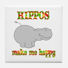 Hippos Make Me Happy Tile Coaster