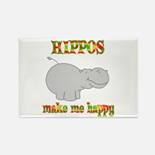 Hippos Make Me Happy Rectangle Magnet