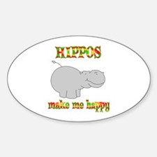 Hippos Make Me Happy Sticker (Oval)