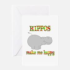 Hippos Make Me Happy Greeting Card