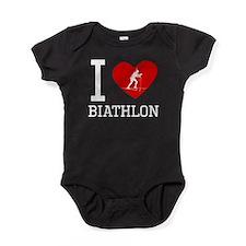 I Heart Biathlon Baby Bodysuit