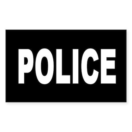 Black Police Rectangle Sticker