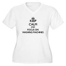 Keep Calm by focusing on Washing Plus Size T-Shirt