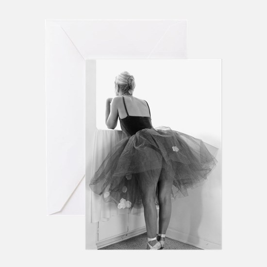 Ballerina Waiting Offstage Greeting Cards