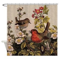 Vintage Robin Birds Lovers Shower Curtain