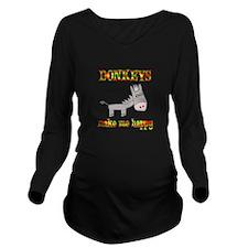 Donkeys Make Me Happ Long Sleeve Maternity T-Shirt