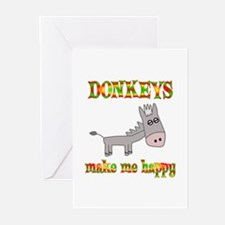 Donkeys Make Me Happy Greeting Cards (Pk of 10)