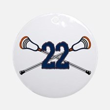 Lacrosse 22 Orange and Blue Ornament (Round)
