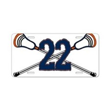 Lacrosse 22 Orange and Blue Aluminum License Plate