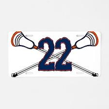 Lacrosse 22 Orange and Blue Aluminum License Plate