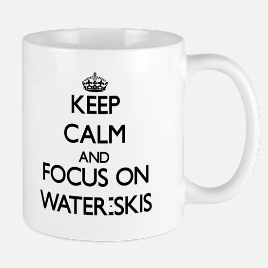 Keep Calm by focusing on Water-Skis Mugs