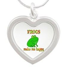 Frogs Make Me Happy Silver Heart Necklace