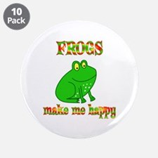 """Frogs Make Me Happy 3.5"""" Button (10 pack)"""