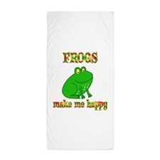 Frogs Make Me Happy Beach Towel