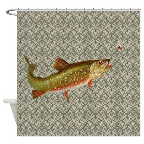 Vintage Rainbow Trout Fly Fishing Shower Curtain By Doodlefly