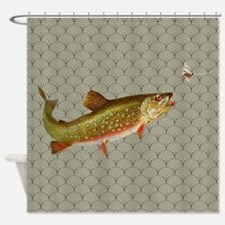 Vintage rainbow trout fly fishing Shower Curtain
