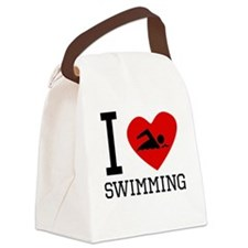 I Heart Swimming Canvas Lunch Bag