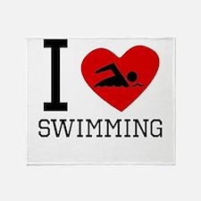 I Heart Swimming Throw Blanket