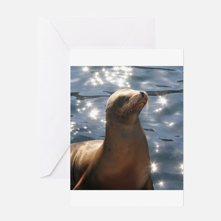 Sparkling Sea Lion Greeting Cards