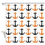 Orange And Black Anchor Shower Curtains
