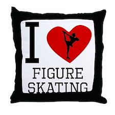 I Heart Figure Skating Throw Pillow