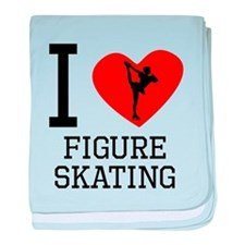 I Heart Figure Skating baby blanket