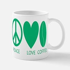 Peace Love Coffee in Green Mug
