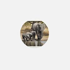 Elephant mom and babies Mini Button