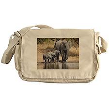 Elephant mom and babies Messenger Bag