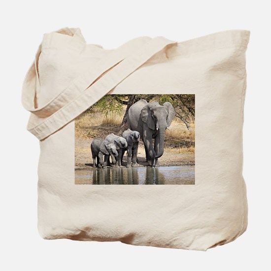 Elephant mom and babies Tote Bag