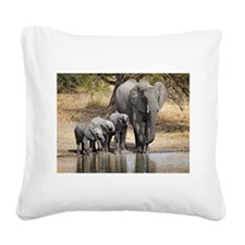Elephant mom and babies Square Canvas Pillow