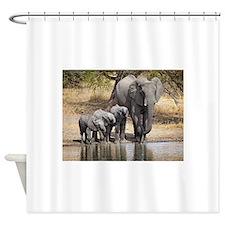 Elephant mom and babies Shower Curtain