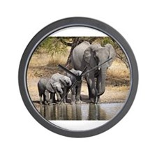 Elephant mom and babies Wall Clock