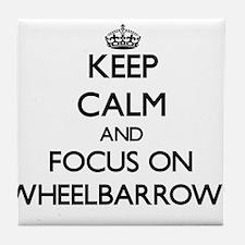 Keep Calm by focusing on Wheelbarrows Tile Coaster