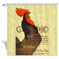 Vintage French Rooster Crowing Poster Shower Curta