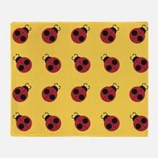 Cute Red Ladybug Yellow Pattern Throw Blanket