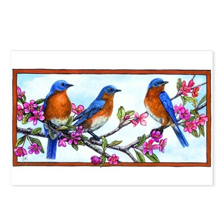 Bluebirds & Blossoms Postcards (Package of 8)