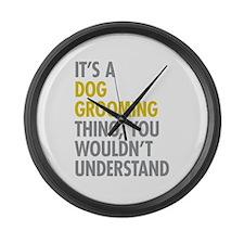 Dog Grooming Thing Large Wall Clock