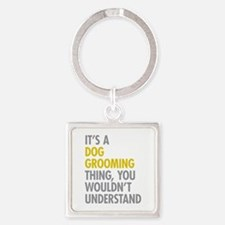 Dog Grooming Thing Square Keychain