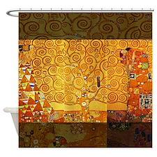 Gustav Klimt Tree of Life Art Nouveau Shower Curta