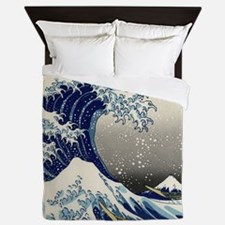 Japanese Woodcut Great Wave Mount Fuji Queen Duvet